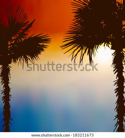 Illustration tropical palm trees, sunset background - vector - stock vector