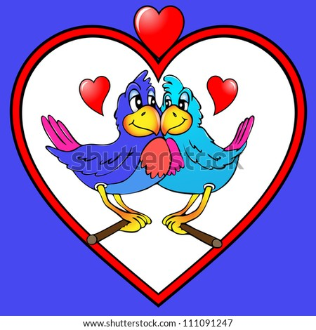 illustration two parrots are kissed in heart - stock vector