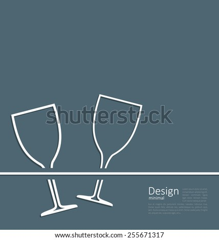 Illustration two wineglass wedding invitation card , logo template corporate style - vector - stock vector