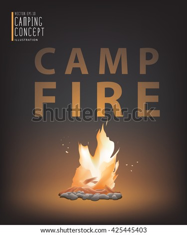 Illustration vector beautiful campfire in the dark for camping. Travel Camping and Recreation Concept - stock vector