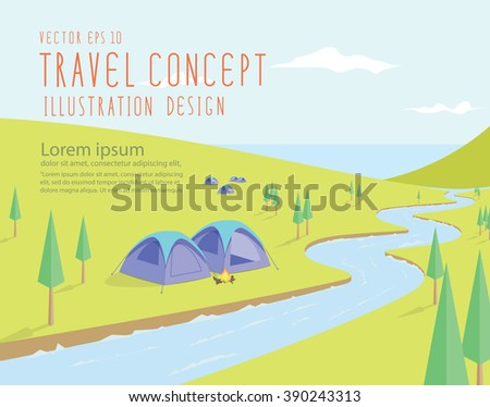 Illustration vector campsites spectacular natural located along the river that flows into the sea on a bright day flat style. - stock vector