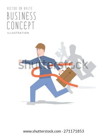 Illustration vector competition of business sprint to the finish line first to ribbon flat style. - stock vector