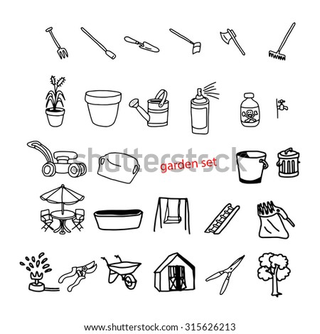 illustration vector doodles hand drawn objects in backyard garden. - stock vector