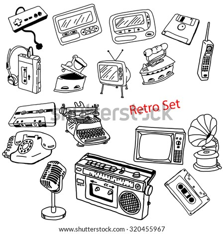 illustration vector doodles hand drawn set of retro-styled objects isolated - stock vector
