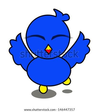 illustration Vector Graphic of Blue Bird Cartoon Character - stock vector
