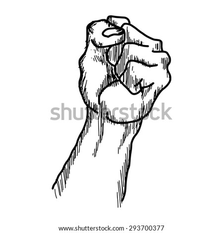 illustration vector hand drawn doodles of raised protest fist  isolated on white background - stock vector