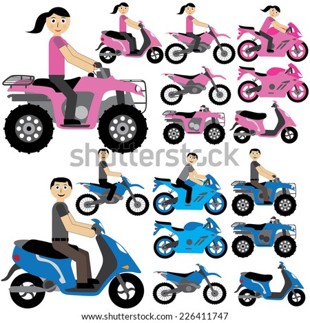 Illustration / vector. Many tips of motorcycles in blue and pink. - stock vector