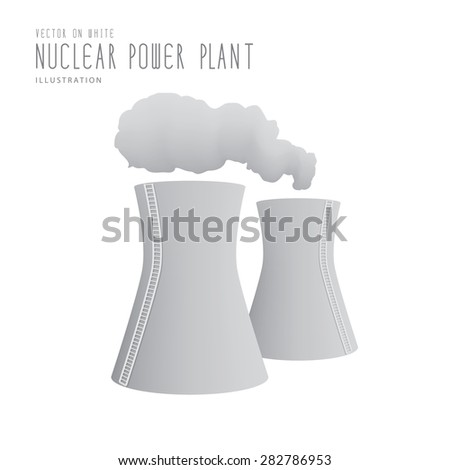 Illustration vector nuclear power plant  flat style. - stock vector