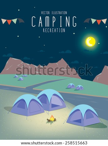 illustration vector of camping in the natural atmosphere. (Night) - stock vector