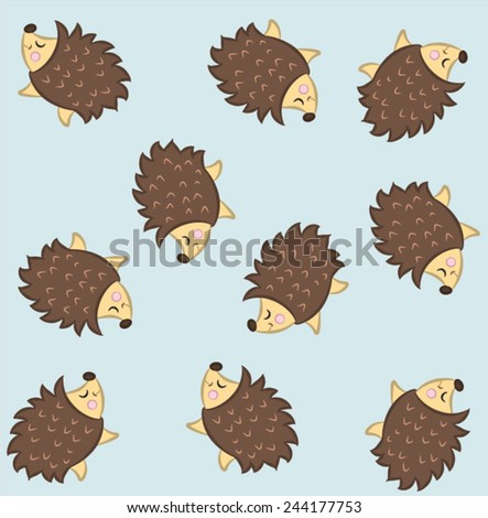 Illustration vector of cute porcupine  - stock vector