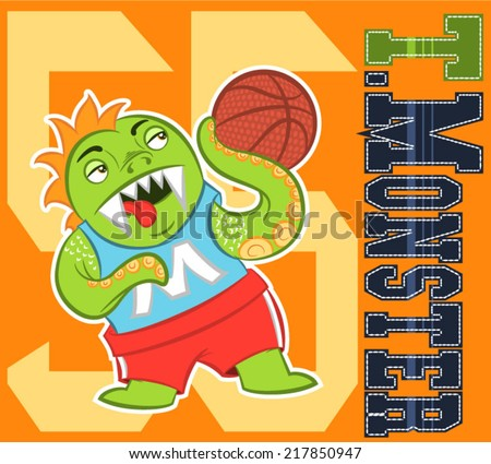 Illustration vector of monster sport with numbers and fabric patch - stock vector