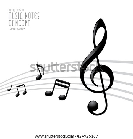 Illustration vector of Music notes and Treble Clef on white background template layout design graphics icon symbol abstract  - stock vector