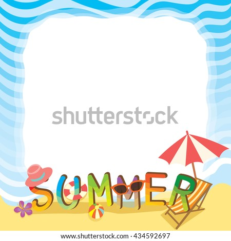Illustration vector of summer text design with beach of sea border.Blank for your text or message. - stock vector