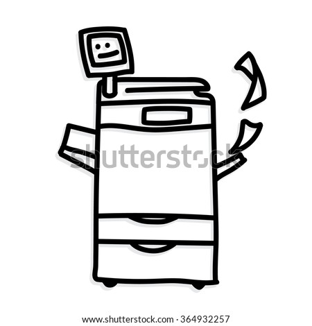 illustration vector on a white background. copier printer. Hand drawing. - stock vector