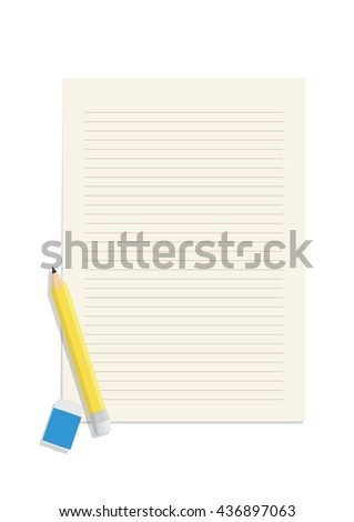 Illustration vector pencil and eraser on a blank lined paper. Education Object Concept. - stock vector