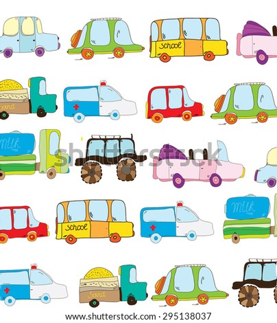 illustration vector set with colorful painted children's toy cars - stock vector