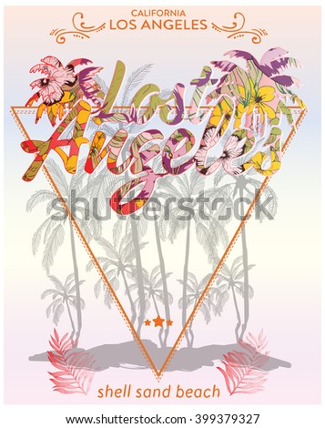 illustration vector / tropical city / tropical flovers / leafs / los angeles city / california - stock vector