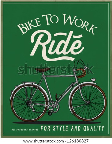 illustration vector vintage retro race rider bicycle with label 2 - stock vector