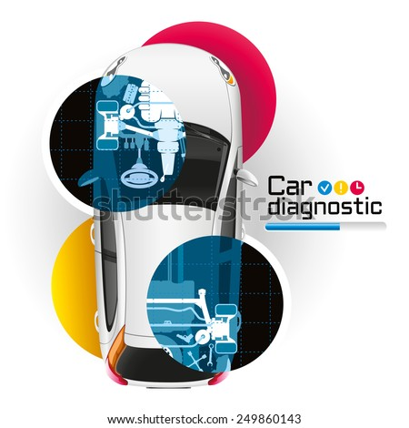 Illustration vehicle diagnostics using the X-ray - stock vector