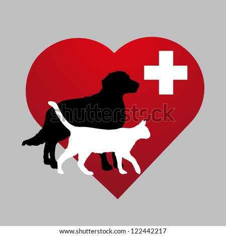 illustration veterinary symbol with dog and cat - stock vector