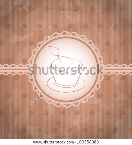 Illustration vintage background with coffee label, coffee bean's texture - vector - stock vector