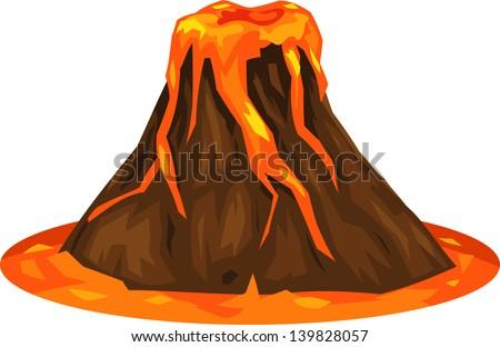 illustration volcano - stock vector