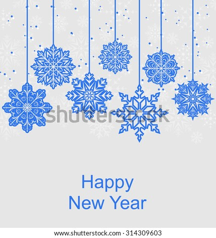 Illustration Winter Background with Snowflakes for Happy New Year - Vector - stock vector