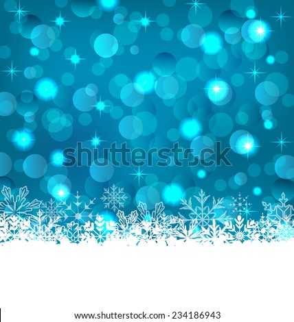 Illustration winter frozen snowflakes background with copy space for your text - vector - stock vector