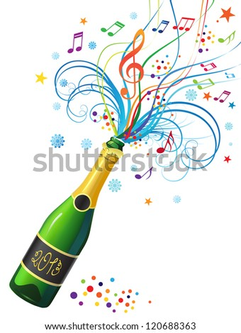 Illustration with a bottle of champagne and a decorative abstract composition. - stock vector