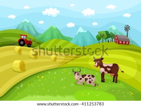 illustration with a farm landscape - stock vector