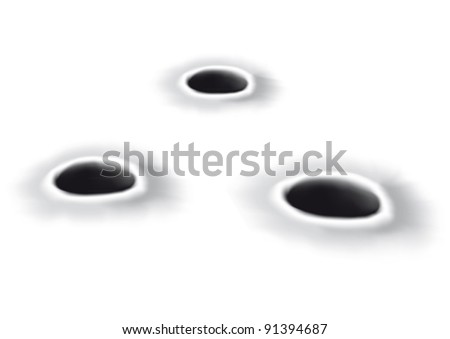 illustration with a hole blacks - stock vector