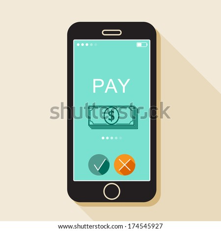 Illustration with a mobile phone. Gadget in flat style with money sign and a long shadow - stock vector