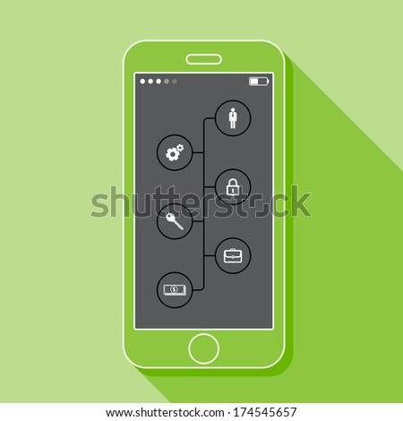 Illustration with a mobile phone. Set of infographic elements in flat style with business signs and a long shadow - stock vector