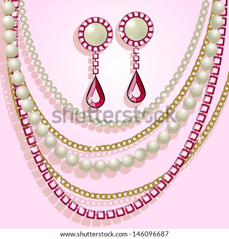 Illustration with a precious necklace, pearls and earrings - stock vector