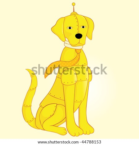 illustration with a robot dog - stock vector