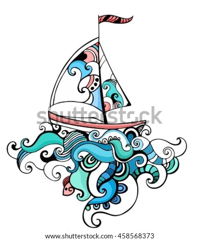 illustration with a sailboat - stock vector
