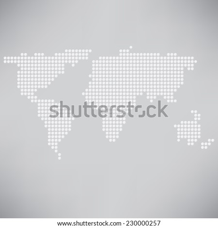 illustration with abstract dotted world map on a grey  background - stock vector