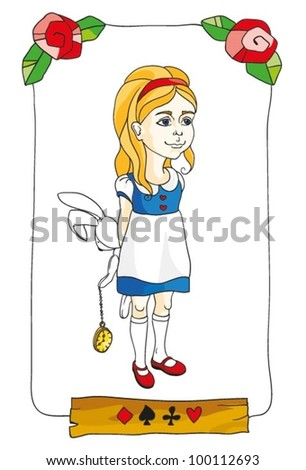 Illustration  with Alice and Rabbit - stock vector