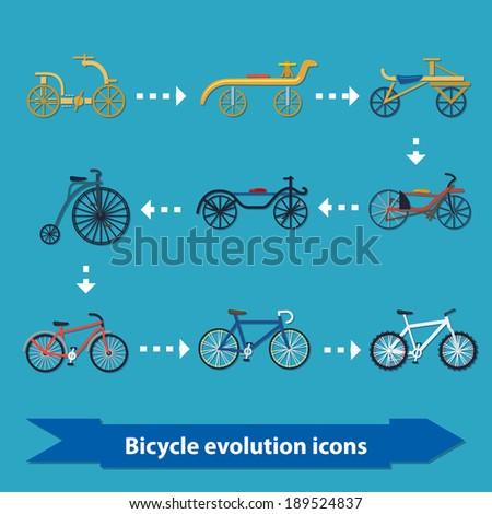 Illustration with bicycle evolution icons from oldest to modern in flat style - stock vector