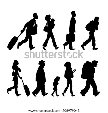 Illustration with black silhouette of passenger in the airport  - stock vector