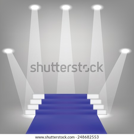 illustration  with blue carpet on grey background - stock vector