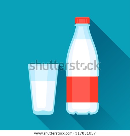 Illustration with bottle and glass of milk in flat design style. - stock vector