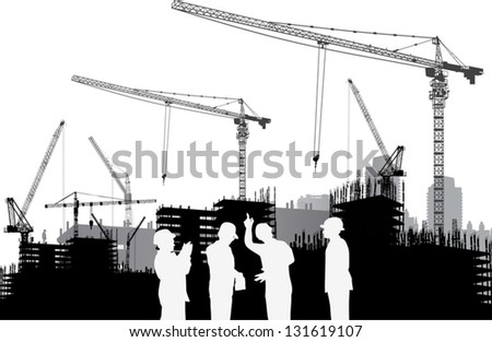 illustration with builder and crane silhouettes - stock vector