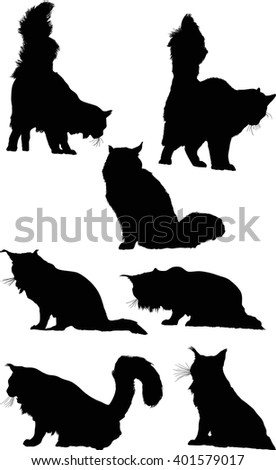 illustration with cat silhouettes collection isolated on white background - stock vector