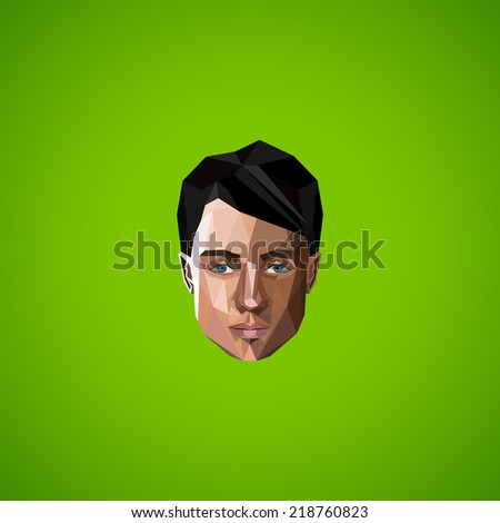 illustration with caucasian man face in low-polygonal style. beauty or fashion icon   - stock vector