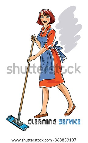 illustration with cleaning lady - stock vector
