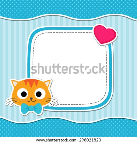 Illustration with cute cat and heart for boy. Vector template with place for your text.  Card for baby shower, birth announcement or birthday invitation. - stock vector
