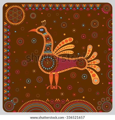 Illustration with decorative stylized image of the bird in the ethnographic style. - stock vector