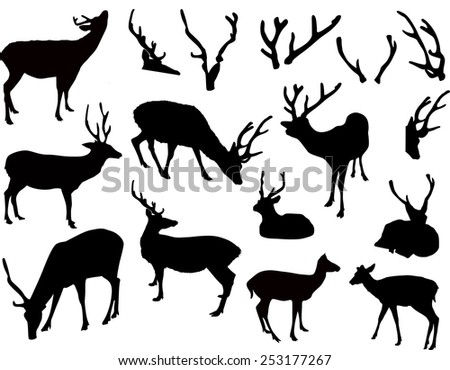 illustration with deer and antler silhouettes isolated on white background - stock vector
