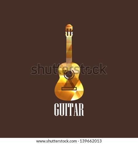 illustration with diamond guitar icon - stock vector